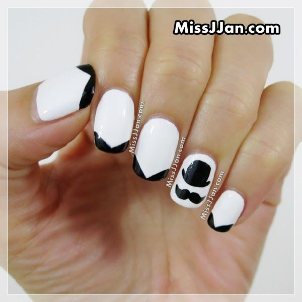 Cute Movember Mustache Nail Art