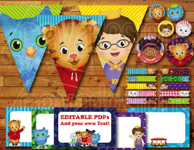 Printable Daniel Tiger Birthday Party Decoration / Daniel Tiger's Neighborhood Party Decor Instant Digital Download with Banner / Bunting by CEVADesigns on Etsy https://www.etsy.com/listing/217531256/printable-daniel-tiger-birthday-party