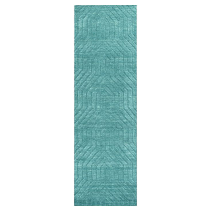 Rizzy Home Technique Collection Hand-Loomed 100% Wool Runner Rug - Blue/Dark Teal (2'6 x 8')