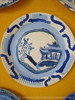 So pretty!  Chinese willow pattern plates.