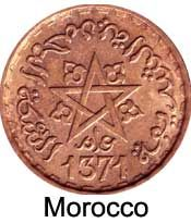 Coins from Morocco tend to have a star on them, making them easier to identify.