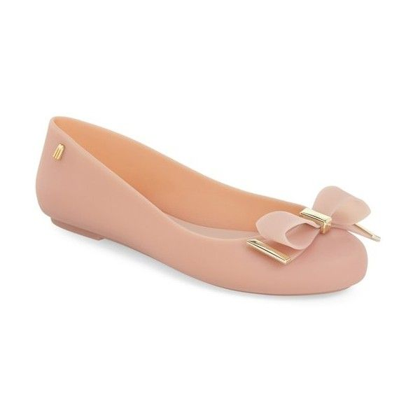 Melissa 'Space Love III' Jelly Flat ($105) ❤ liked on Polyvore featuring shoes, flats, light pink matte, round toe ballet flats, bow flats, light pink ballet flats, slip on flats and melissa flats