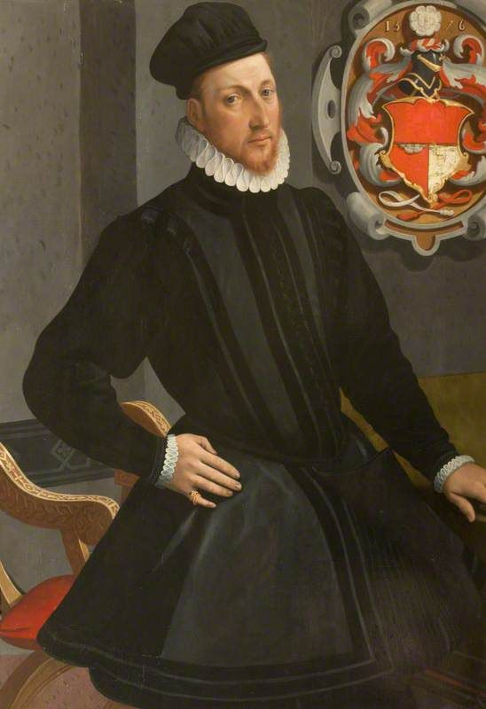 Portrait of an unknown man, possibly Henry Stuart, Lord Darnley by John Astley, Anglo-Flemish School, oil on panel, 1576.