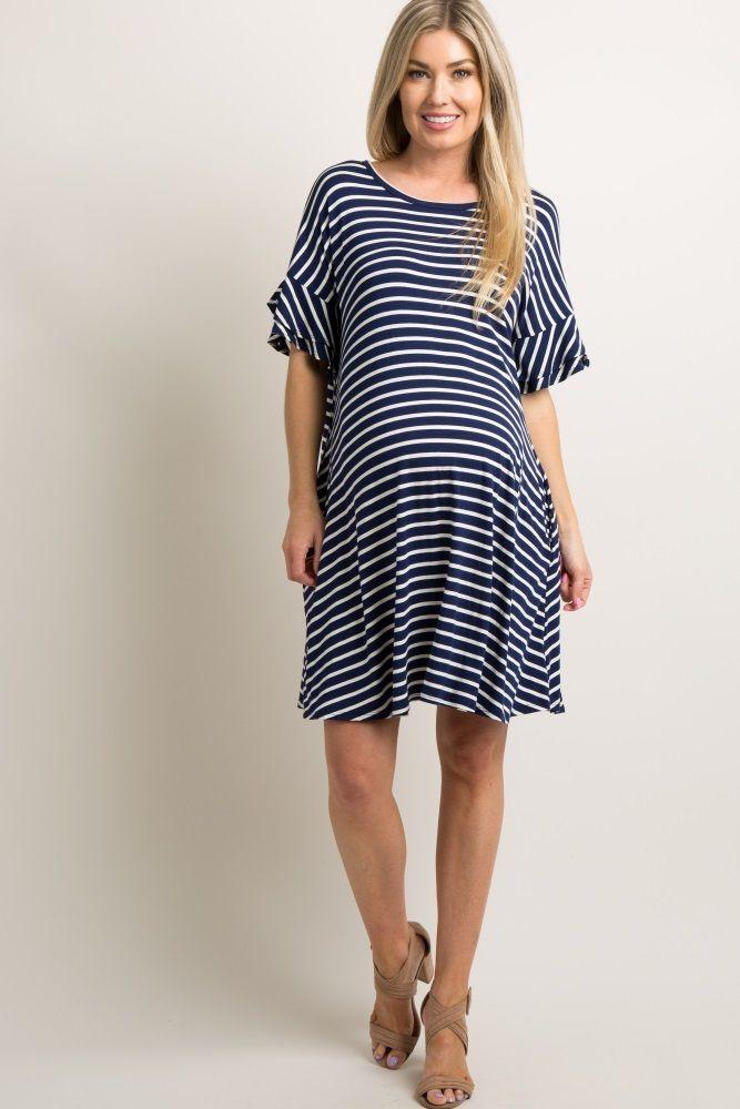 73a777f811a22 Navy Striped Layered Flounce Sleeve Maternity Swing Dress | Várandós ...