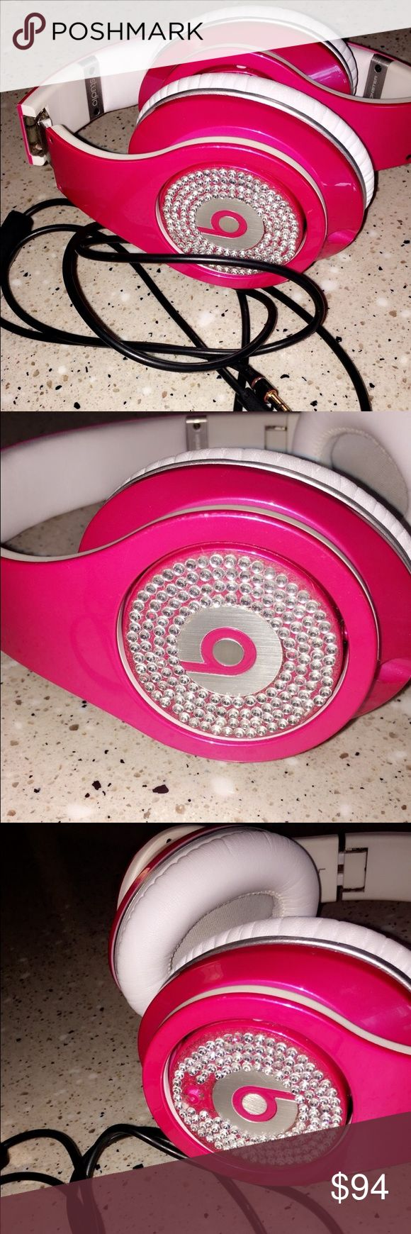 Custom Beats by Dre Rose pink beats, only flaw is a few missing diamonds on one side. Bought these for $180 Beats Accessories