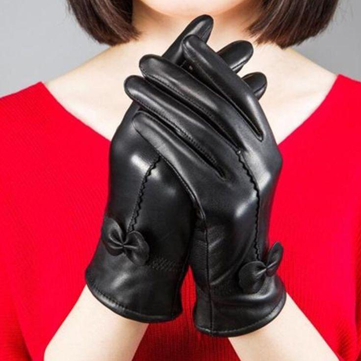 Fashion Women Genuine Leather Gloves Bow Soft Winter Warm Lining Mittens