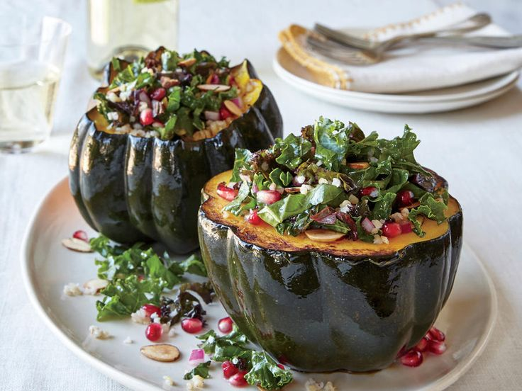 "This is a fun dish to ""carve"" at the table, as each person gets one wedge to enjoy as a side dish. For an entrée take, give each person half a squash. View Recipe: Acorn Squash with Pomegranate and Kale Tabbouleh"