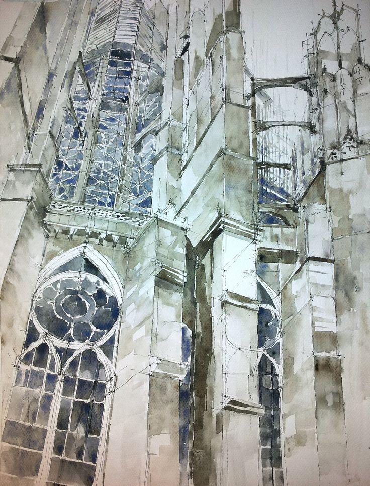 architecture, watercolors