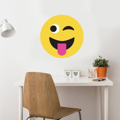 "24"" Large Emoji Fabric Wall Decal, Matte, Eco-Friendly Peel and Stick Emoji Wall Decals - Wall Dressed Up - 1"