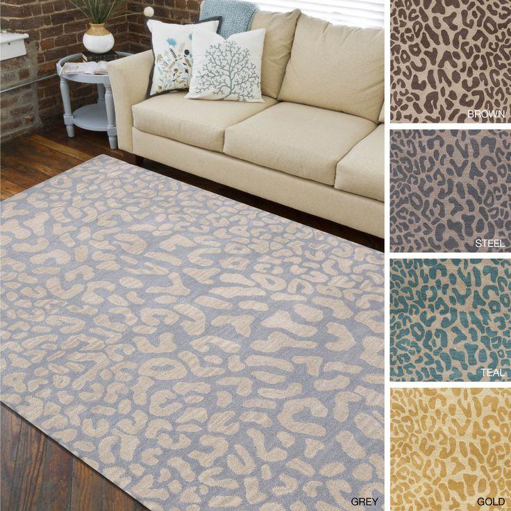 handtufted jungle animal print wool area rug 12u0027 x 15u0027 - Colorful Area Rugs