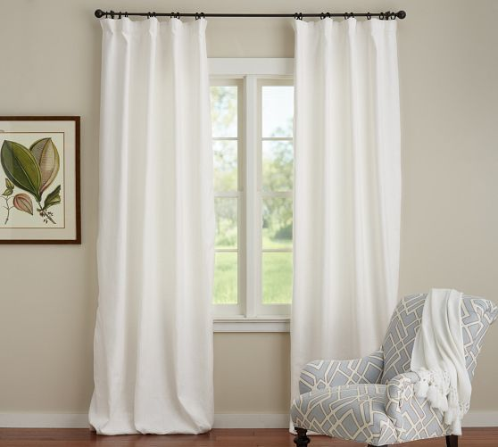 Custom sewn linen curtains with back tabs and blackout lining, similar look to these pottery barn curtains