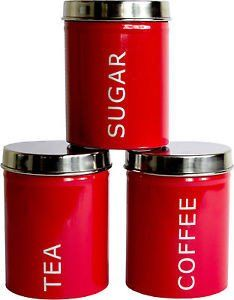 Tea, Coffee, Sugar Set of 3 Kitchen Storage Canisters - Red. Visit us now and ENJOY 10% OFF + FREE SHIPPING on all orders