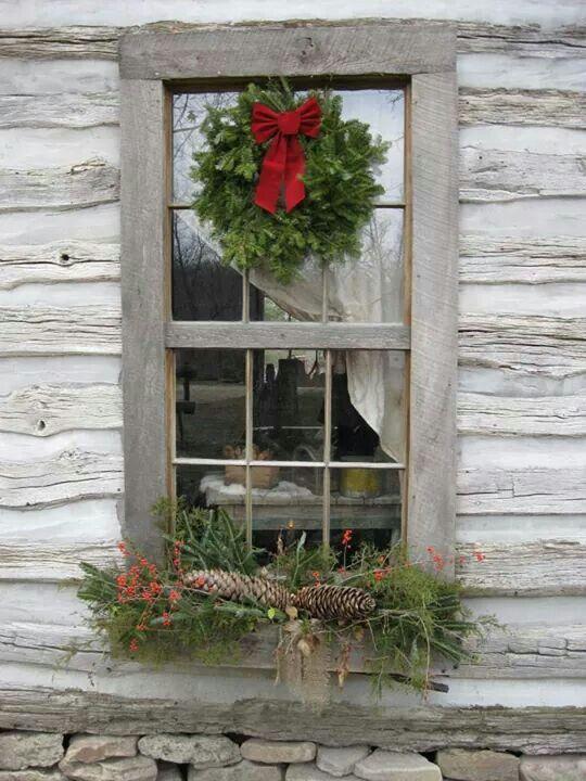 Rustic Cabin Christmas window