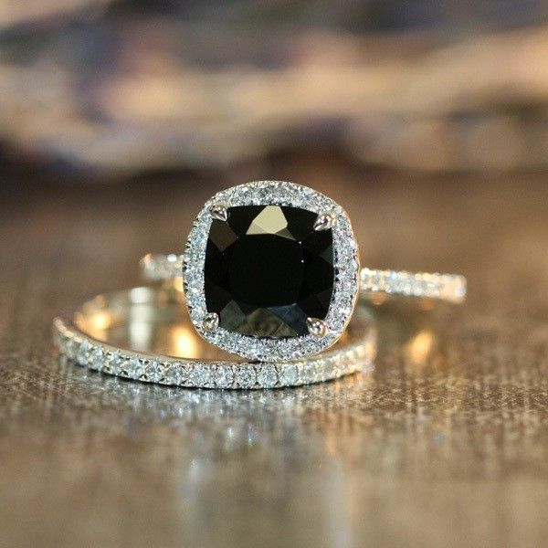 modern engagement ring with black diamond @myweddingdotcom