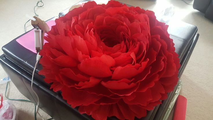 I finally had time to create my own giant crepe paper flower.   It's 22 inches wide and took 6 rolls of crepe paper, and I'm in love with this thing.