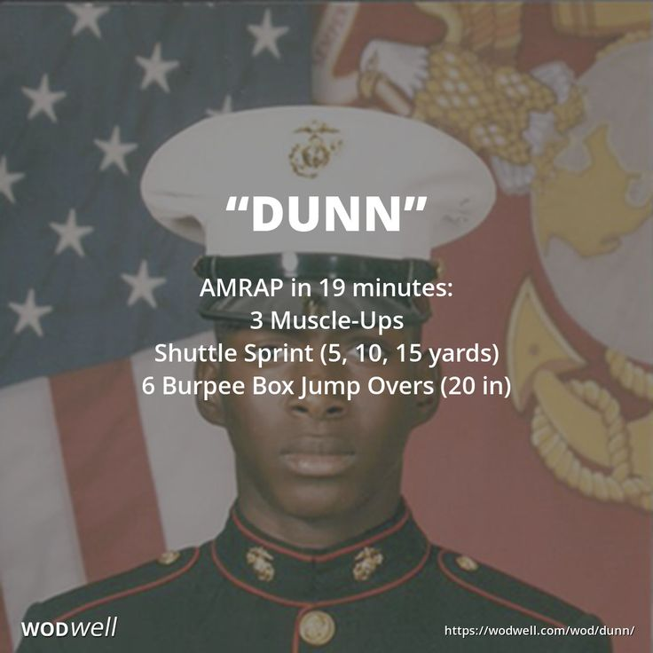 """""""Dunn"""" WOD - AMRAP in 19 minutes: 3 Muscle-Ups; Shuttle Sprint (5, 10, 15 yards); 6 Burpee Box Jump Overs (20 in)"""