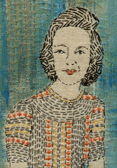 Sue Stone Amazing portrait in embroidery with just plain stitches.