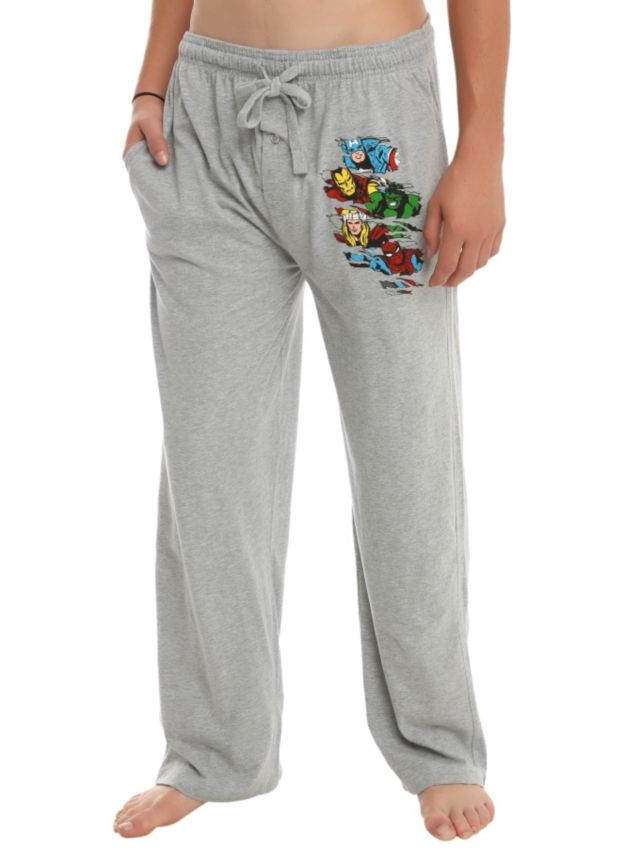 Comfy grey men's pajama pants with Captain America, Iron Man, Hulk, Thor and Spider-Man faces on the left leg. Elastic drawstring waist with single button fly.
