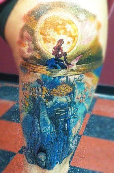 Wow! Amazing tattoo - Ariel, sea, ocean life, sunset, disney
