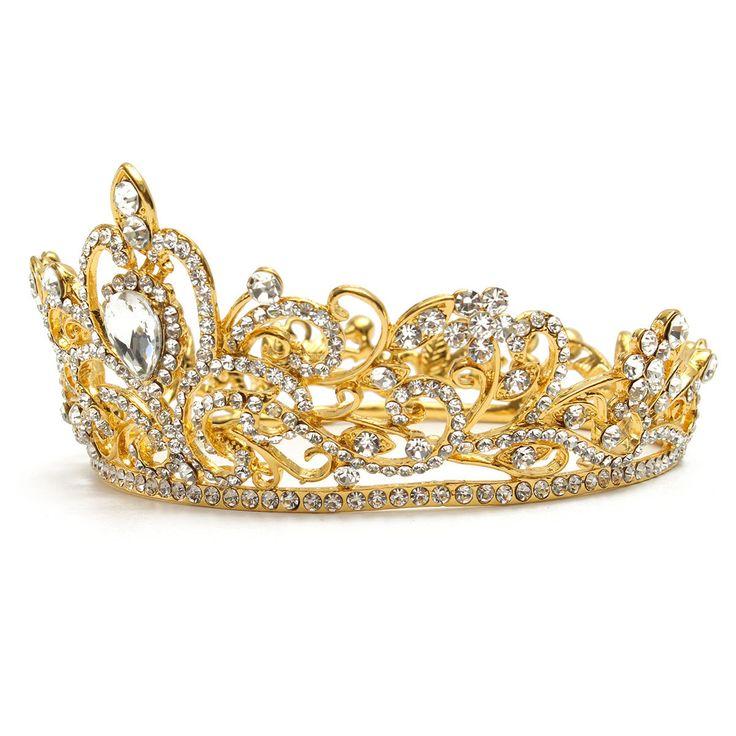 Bride Gold Silver Rhinestone Crystal Crown Tiara Head Jewelry Princess Queen Wedding Headpiece Cheap - NewChic