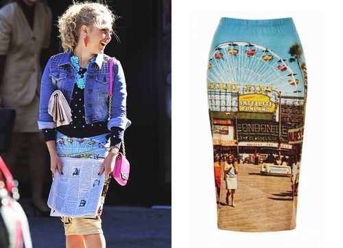 AnnaSophia Robb is snapped on the set of The Carrie Diaries wearing this fairground print tube skirt - you can just see the top of the big wheel! Are you loving the new direction Carrie's style has taken?