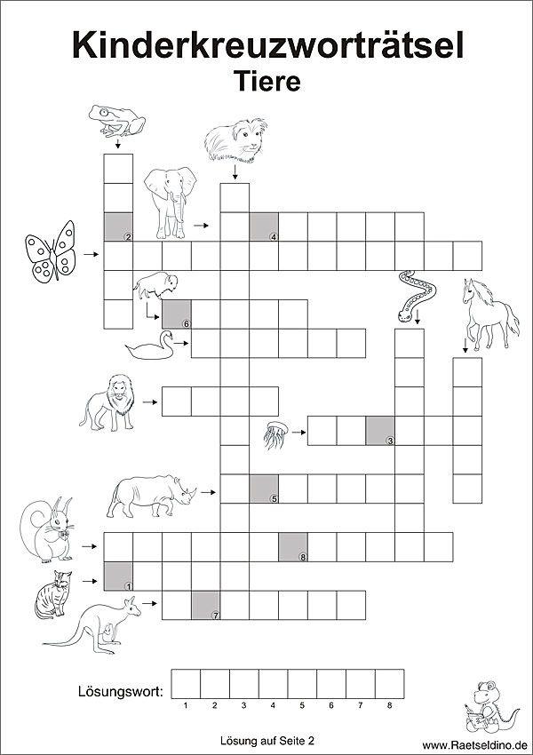 Kinderkreuzworträtsel mit Tieren