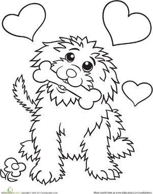 Cute Dog Coloring Page Worksheets Dog And Craft