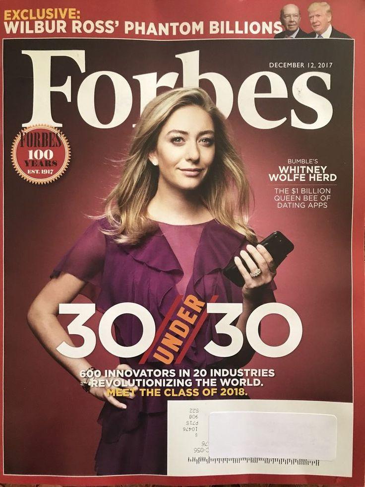 Forbes Magazine December 12 2017 Whitney Wolfe Herd Dating Apps 30 Under 30    eBay