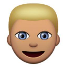 Olive Toned Person With Blond Hair Emoji U 1f471 U 1f3fd