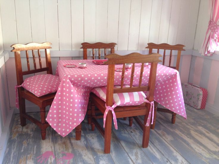 Table and chairs made by my late grandfather. Tablecloth and chair cushions made by me.