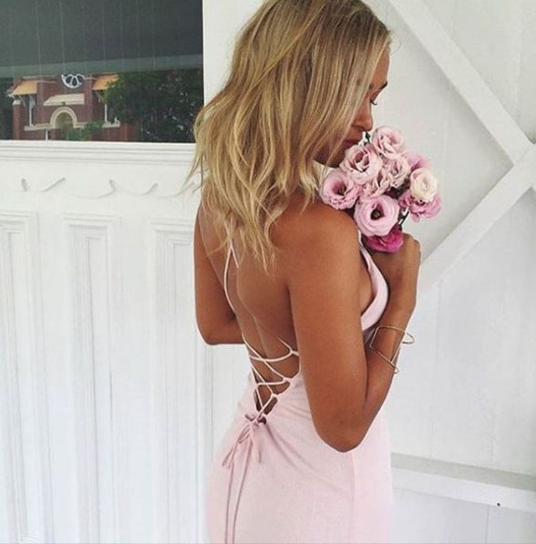 Girl & the Sun - Luna Tie Back Maxi Dress (Baby Pink)
