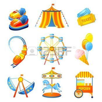 fete foraine: icônes du parc de divertissement d'attractions prévues avec grande roue russes marier-aller-ronde isolé illustration vectorielle