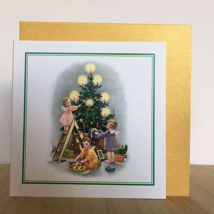 jolie carte double vintage avec enveloppe dor e pour souhaiter les v ux de fin d 39 ann e no l. Black Bedroom Furniture Sets. Home Design Ideas