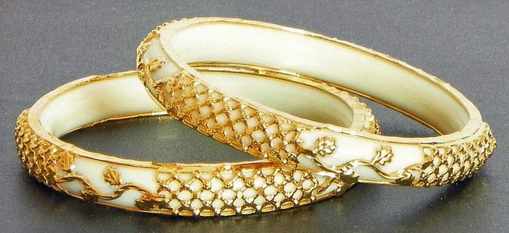 Gold Plated White Bangles (Acrylic and Metal))