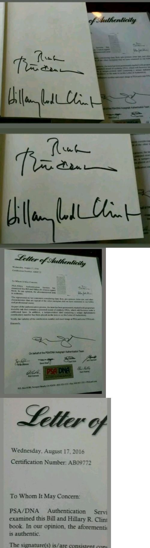 Bill Clinton: Psa Dna President Bill And Hillary Clinton Signed Book My Life! 1St Ed Full Sigs -> BUY IT NOW ONLY: $399 on eBay!