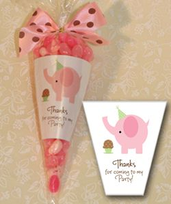Candy Cone Party Favors Shimmery White Liners with Cute Designs - The Invitation Shop