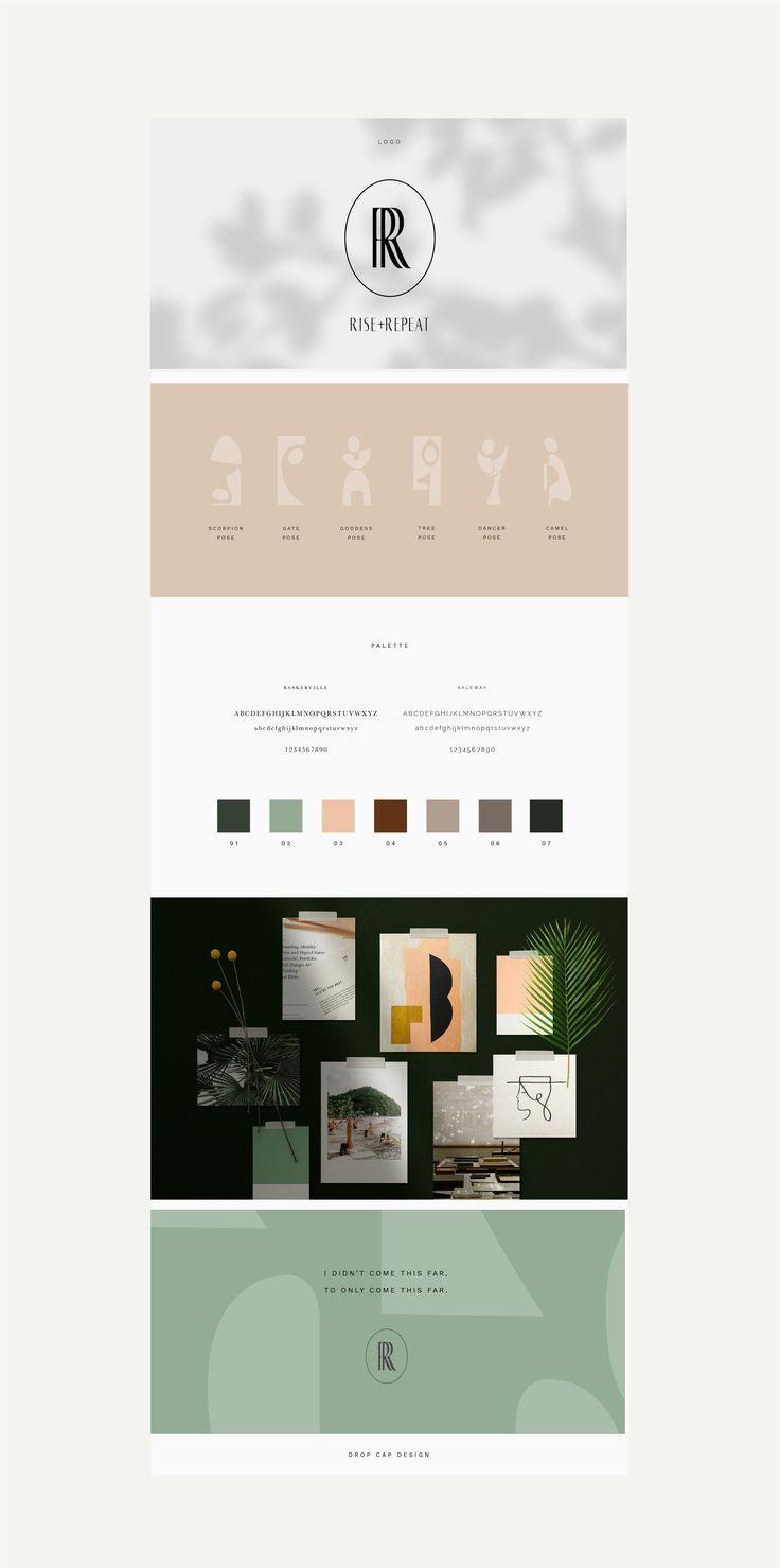 Brand Design For Women S Mindfulness Retreat Rise Repeat Drop Cap Design Branding Design Design
