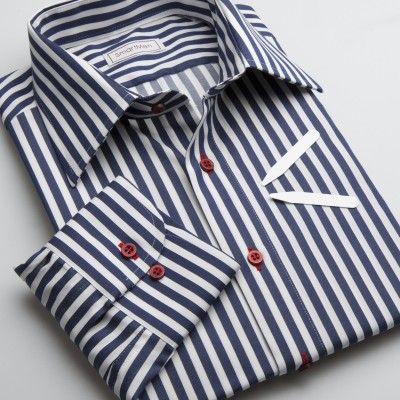 Pánská košile modrý proužek - NAVY BLUE