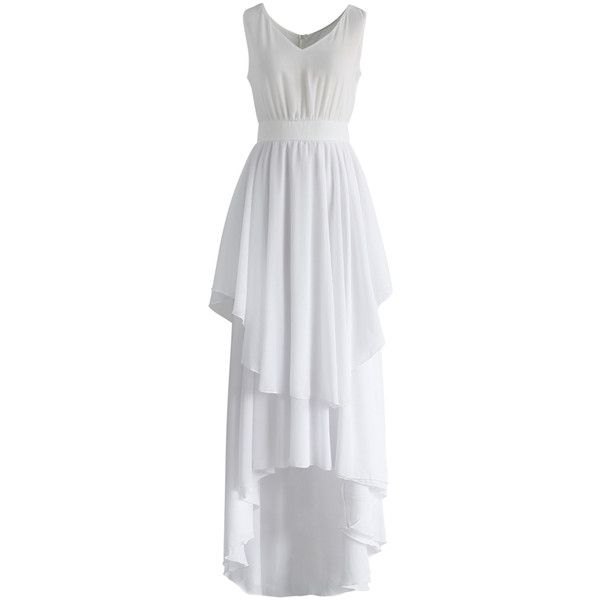 Chicwish Ethereal Waterfall Chiffon Maxi Dress in White found on Polyvore featuring dresses, gowns, white, chiffon dress, white evening dresses, chiffon gown, short dresses and white ball gowns