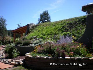Formworks exterior ---green roof . . . love the tower and landscaping detail too