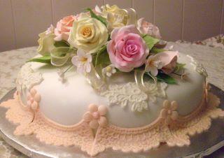 Rose covered cake.