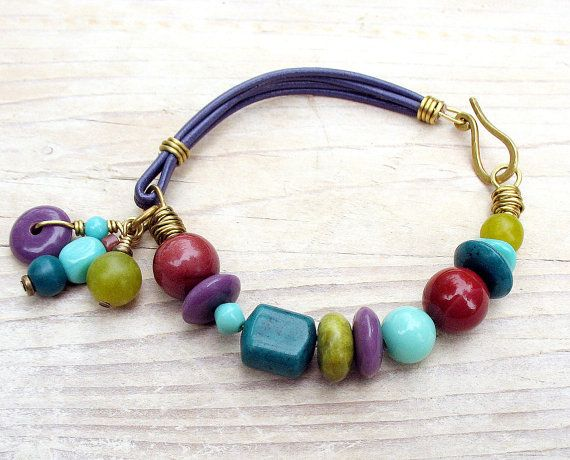 Beaded Leather Bracelet, Rhapsody Purple Chartreuse Teal Turquoise Plum Burgundy, Geometric Beads and Charms