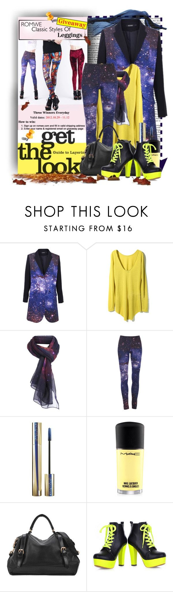 """Romwe Classic Styles Of Romwe Leggings Giveaway"" by keti-lady ❤ liked on Polyvore featuring Nicki Minaj, Collistar, MAC Cosmetics, ankle boots, galaxy print, scarf prints, leggings, handbags, romwe and coats"
