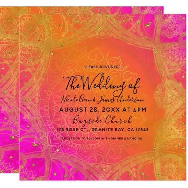 Fuchsia Pink Orange Gold Indian Mandala Wedding Invitation Zazzle Com In 2020 Mandala Wedding Invitation Mandala Wedding Pink Wedding Invitations