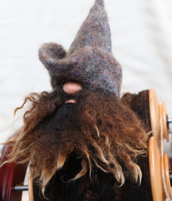Needle Felted Gnome with Romney Beard Gnome by FeltingFarmerLady (Etsy)