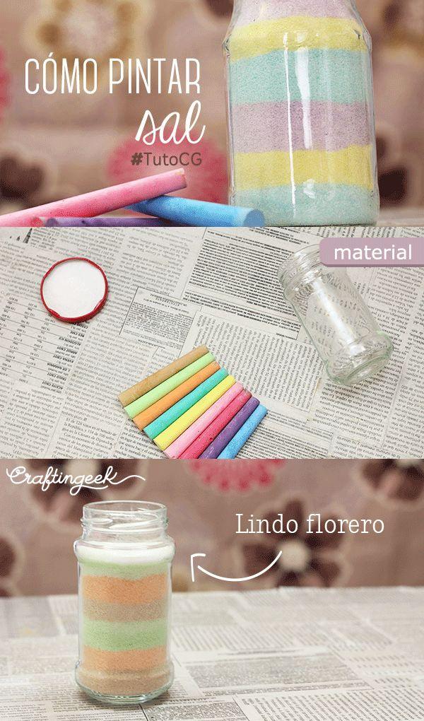 Te enseño a hacer estos floreritos con sal de colores!! tutorial en www.craftingeek.me