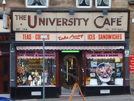 The Uni Cafe on Byres Road. This Fab café is still here, still looks the same and still run by the same family, and still do a great cup of tea and roll in sausage