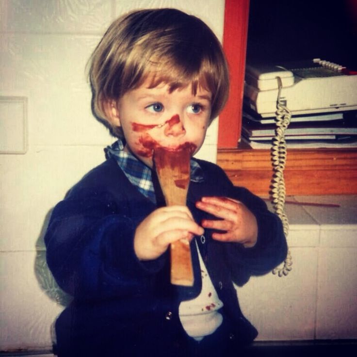Bowl cut while licking the bowl. 3-year-old Emma Freedman shares a baby pic.
