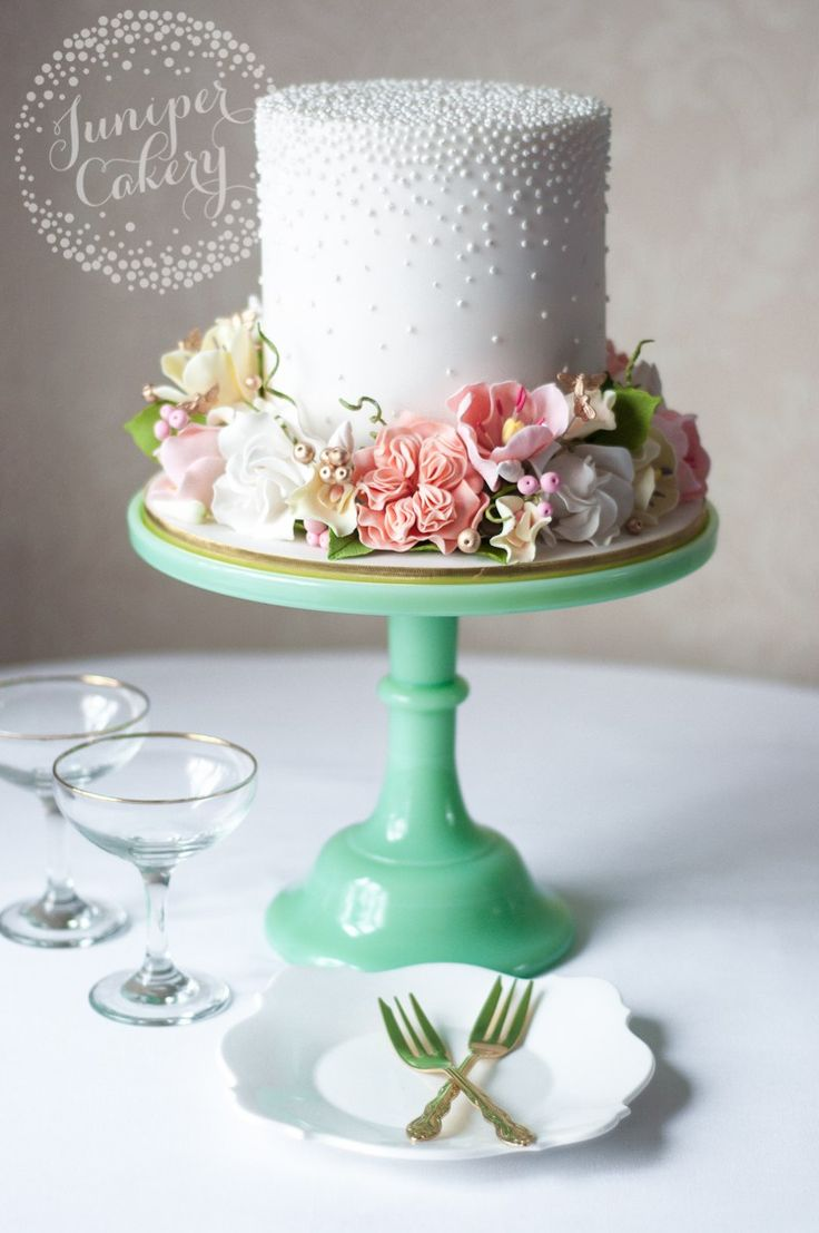 Floral crown cake with sugar gardenias by Juniper Cakery