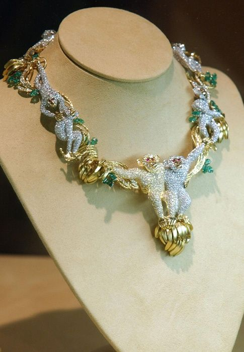 """Known as the """"Monkey Necklace"""", this piece was given to Liz by her close friend Michael Jackson."""